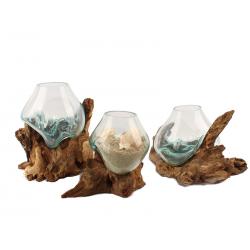 Küünlaalus klaasist naturaalsel puidul 23236